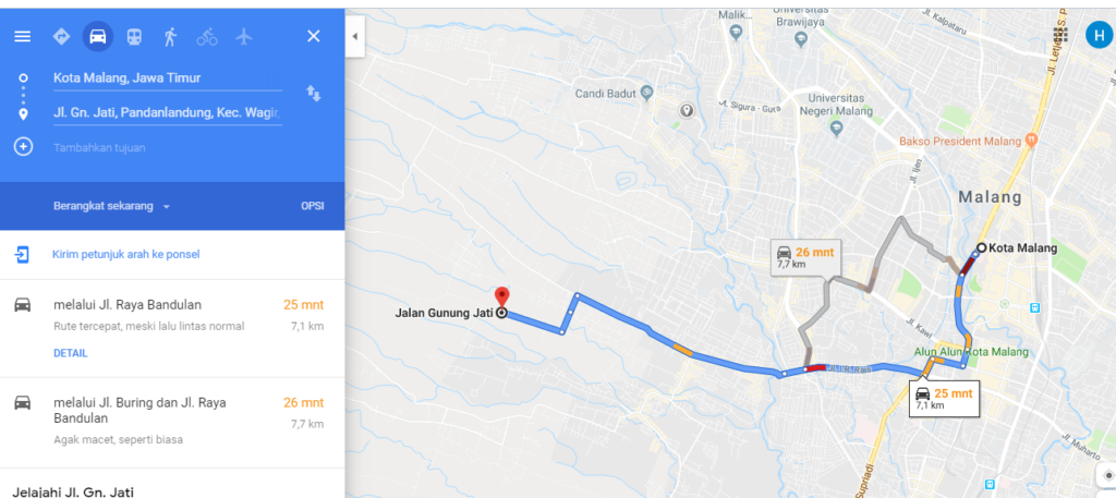 Jarak Kota Malang dengan Wagir